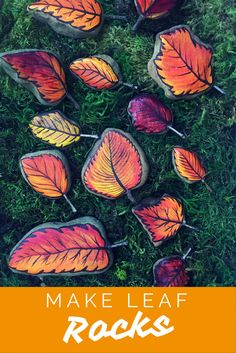 Learn to make Fall Leaf Rocks! Turn a regular rock into a painted leaf