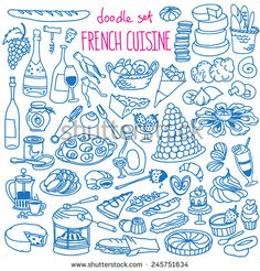 Set Of Doodles, Hand Drawn Rough Simple French Cuisine Food Sketches. Different Kinds Of Main Dishes, Desserts, Beverages. Vector Set Isolated On White Background For Cafe Menu, Fliers, Chalkboard - 245751634 : Shutterstock