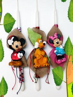 Λαμπάδες Disney Mickey-Pluto-Minnie Palm Sunday, Easter Ideas, Disney Mickey, Comic, Candles, Christmas Ornaments, Stars, Holiday Decor, Comic Strips