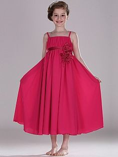 Spaghetti-Trägern Chiffon Blumenmädchen Kleid mit Schärpe - EUR 63,62€