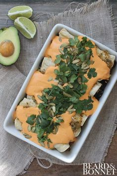 Black Bean Enchiladas With Roasted Red Pepper Cashew Cream {Beard and Bonnet}