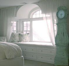 beautiful window bench, curtains to soften