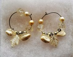 $2.03 - Silvertone, White & Clear Circle Earrings (12316-64 ER) fashion, jewelry #Unknown #Hoop