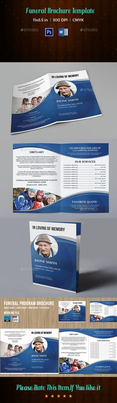 Printable Funeral Program Template  Memorial Program  Obituary