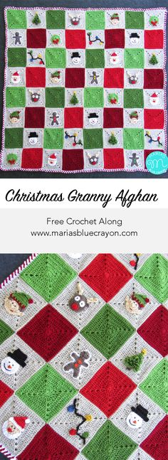 Christmas Granny Square Afghan   Free Crochet Along   Crochet Christmas Blanket   Maria's Blue Crayon