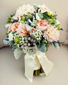 A Vows, Estes Park Original - Sweet pastels with pale peache peonies, pink dahlias, greens and gray accents of berries and dusty miller.