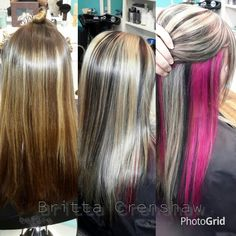 I want something like this but with my blonde on top and only black and pink in the under layer Pink Peekaboo Highlights, Peekaboo Color, Hair Color Highlights, Hair Color And Cut, Hair Color Blue, Cool Hair Color, Pink Blonde Hair, Blonde With Pink, Goddess Hairstyles