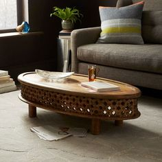 Carved Wood Ellipse Coffee Table - Natural