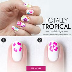 simple steps to re-create this tropocal nail art look but only in purple for me Tropical Nail Designs, Flower Nail Designs, Flower Nail Art, Hibiscus Nail Art, Tropical Nail Art, Tropical Design, Cute Nail Art, Nail Art Diy, Diy Nails