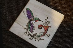 Wood Burning - Hand Burned Humming Bird - Pyrography - watercolor and colored pencils