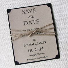 Rustic Vintage Twine Kraft Save the Date Wedding by LoveofCreating, $3.00