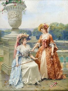 Two Women in the Park by Henri Victor Lesur. 18th Century Dress, 18th Century Fashion, 19th Century, Victorian Paintings, Victorian Art, Painting People, Woman Painting, Classic Paintings, Beautiful Paintings