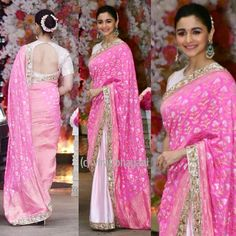 Razi star Alia Bhatt appeard in a floral pink saree at Akash Ambani's pre-engagement ceremony. Alia was looking elegant and super gorgeous i Indian Engagement Outfit, Engagement Saree, Indian Wedding Outfits, Indian Outfits, Indian Clothes, Bollywood Designer Sarees, Bollywood Fashion, Bollywood Actress, Bollywood Girls
