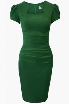 Beautiful emerald sleeves classic dress