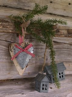 Pretty for Christmas. Love the evergreen, hearts and little houses...