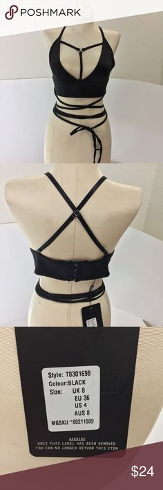 ••Nwt missguided black sexy crop top.•• Black brand new with tags crop top. Can be worn as a going out top or lingerie. Super sexy! Adjustable straps. You can tie it up however you would like. Size 4. Ask any questions! Missguided Tops Crop Tops