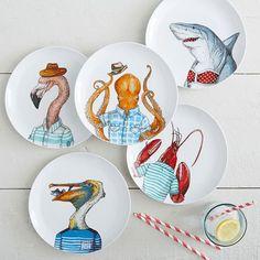 add to the collection!  rhino, zebra, or giraffe.  Dapper Animal Salad Plates #westelm