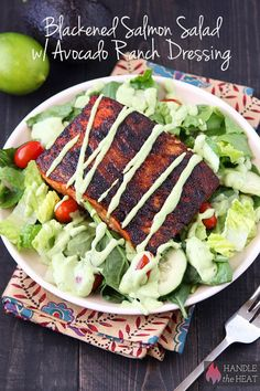 Great for Dinner, must try this!!  Blackened Salmon Salad with Avocado Ranch Dressing - tasty AND healthy!