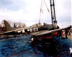 Douglas SBD Dauntless dive bomber recovered from lake