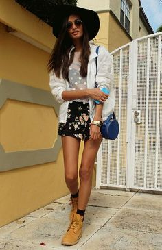 American Apparel Jacket, Forever 21 Shorts, Topshop Top, Topshop Hat, Urban Outfitters Sunglasses, Topshop Bag, Timberland Boots