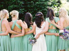 Photography: Erich McVey   Lovely bridesmaid dress colours.