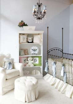 Ivory and Pale Blue Gender Neutral Baby Nursery - traditional - kids - miami - Palm Beach Tots