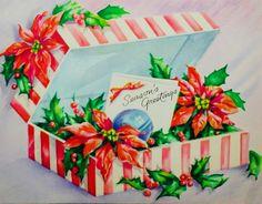#retrochristmas, #seasonsgreetings, Vintage Christmas Card, Retro Christmas Card, #christmasflowers, #poinsettias