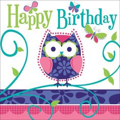 3 Ply Lunch Napkins Happy Birthday Owl Pal Birthday/Case of 192