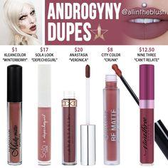 Jeffree Star Androgyny - Flüssige Lippenstift-Dupes aus Velours - All In The Blush - Jeffree Star Androgyny Velour Liquid Lipstick Dupes - Lipstick For Fair Skin, Velour Liquid Lipstick, Lipstick Art, Lipstick Dupes, Lipstick Brands, Lipstick Colors, Red Lipsticks, Lip Colors, Lipstick Shades