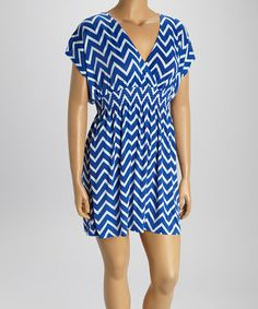 Another great find on #zulily! Royal Blue & White Zigzag Shirred Cape-Sleeve Dress - Plus #zulilyfinds