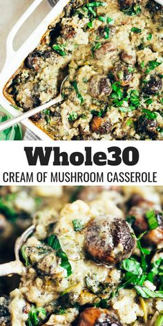 Warm and addicting comfort food alert! Cream of mushroom casserole (paleo and dairy free). Layers of creamy sauce cauliflower rice herbed mushrooms and lots of fresh basil! Made in minutes then its in the oven! Whole 30 Diet, Paleo Whole 30, Whole 30 Vegetarian, Whole Foods, Whole Food Recipes, Vegetarian Recipes, Healthy Recipes, Paleo Casserole Recipes, Keto Recipes