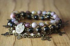 Set of Bohemian Stretch Bracelets beaded with Semi Precious Stone