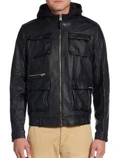 61edbbdce49c6c Members Only Faux Leather Field Jacket Men Size Medium Black Hooded Full  Zip New  MembersOnly