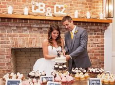 Christan's wedding | The beautiful bride and handsome groom celebrate a fine cupcake wedding tradition #southcarolina #weddingcupcakes #cupcakedownsouth