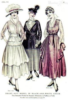 1916 tiered dress, half coat and side ruffled dress