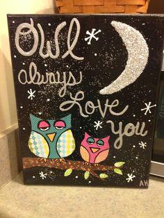 Mixed media canvas.  Owls