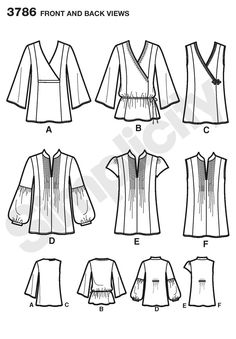Simplicity 3786 - tops with front and sleeve variations  fabrics = cottons, batiks, eyelet, challis, crepe back satin, crepe de chine, jacquards, silks-rayons, silk linen, gauze, crinkled gauze, dbl georgette, satin, soft lightweight linen