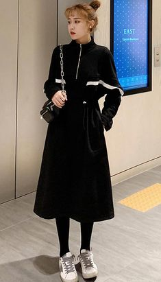 Fashiontroy Street Style long sleeves black drawstring cotton blend midi dress autumn winter Petite Clothing Online, Asian Street Style, Fall Winter, Autumn, Petite Outfits, Dress P, Korean Fashion, Normcore, Fashion Outfits