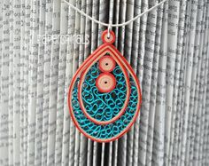 Quilled Paper Pendant | Teardrop Necklace | Teal. Beige. Orange