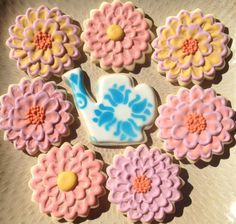 Delft watering can royal icing sugar cookie