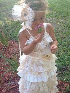 Boho flower girl dress Vintage flower girl dress by RainRene, $155.00