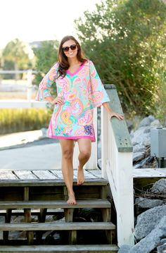 Monogrammed Tunic Monogrammed Beach Tunic by OysterBayEmbroidery