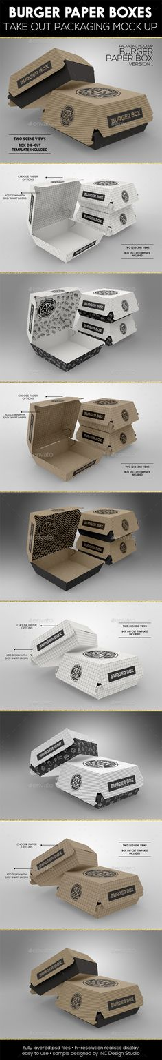 Buy Burger Box Packaging Mock Up by incybautista on GraphicRiver. Burger Box Packaging Mock Up Two PSD mock-ups – High quality Burger Box Paper Box packaging mock up – great for b. Food Branding, Food Packaging Design, Beverage Packaging, Coffee Packaging, Food Box Packaging, Design Tape, Box Design, Burger Packaging, Burger Box
