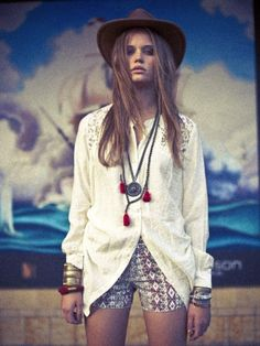 White Top, Hat and Mala beads