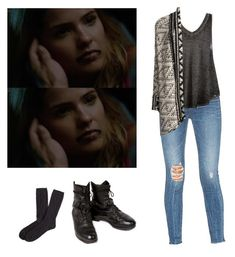 """Malia Tate with an aztec cardigan - tw / teen wolf"" by shadyannon ❤ liked on Polyvore featuring Brooks Brothers, Lovers + Friends, Free People and Willow & Clay"