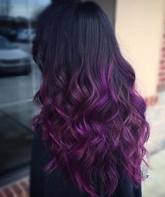 Black Hair 50 coole Ideen von Lavendel Ombre Hair und Purple Ombre 50 idéias frescas de cabelo Ombre de lavanda e Ombre roxo Violet Hair Colors, Hair Color Purple, Violet Ombre, Ombre Colour, Purple Balayage, Purple Hair Tips, Reddish Purple Hair, Dyed Hair Purple, Hair Colours