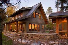 133 Small Log Cabin Homes Ideas Small Log Cabin, Log Cabin Homes, Log Cabins, Plan Chalet, Small Cottage Homes, Rustic House Plans, Rustic Lake Houses, Lake House Plans, Cedar Homes