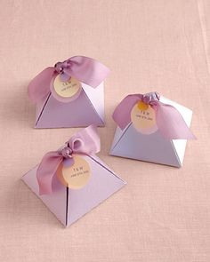 It's all in the packaging -- these pyramid favor boxes turn any treat into something special