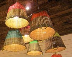 Poppytalk: DIY Idea: Dip-Dyed Style Basket Pendant Lights