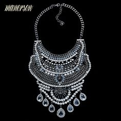 Manerson MultiLayer Jewelry Statement Collares  Black Necklaces Collier Femme  Bijoux Choker Collar Vintage Maxi Chunky Necklace